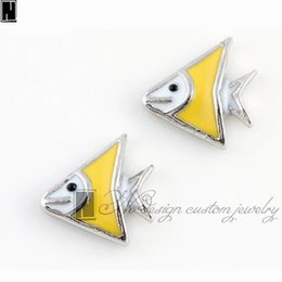 Wholesale River Designs - No Design Custom jewelry charms New Alloy silver enamel Yellow River delta fish floating locket charms for living memory lockets