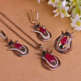 Wholesale Tulip Rings Jewelry - Tulip Vintage Turkish Jewelry Sets Necklace & Earrings & Ring Luxury Resin Crystal sapphire jewelry Bijuterias Women Collar Sets