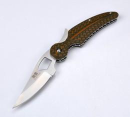 Wholesale Feather Blades - HIGONOKAMI feather G10 handle tengyun D2 blade Hunting Pocket Survival Knives camping hunting folding knives xmas gift knife 1pcs
