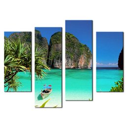 Wholesale Gallery Arts - Amosi Art-4 Pieces Blue Art Gallery Painting Small Bay Light Green Sea Water Mountain Print On Canvas wall Decoration( Wooden Framed)