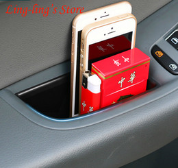Caixa de armazenamento da porta do carro on-line-2 pçs / par Car Interior Da Porta Handle Armrests Organizador Caixa De Armazenamento De Carro-cobre Para Audi A4 B8 Novo A4L 09-15 Q5 Car Styling