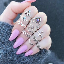 Wholesale Fingers Crossed - Boho Joint Midi Ring 10 Pieces Female Fashionable Finger Knuckle Ring Arrow Cross Retro Jewelry Gift