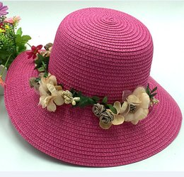 Wholesale Cheapest Church Hats - Cheapest Free shipping Ladies Candy Floral Hats Wide Brim Summer Beach Sun Straw Fashion Flower Caps