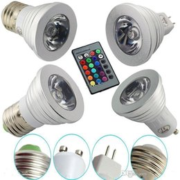 2019 lâmpadas de refrigerador LED RGB Lâmpada 3 W 16 Cor Mudando 3 W CONDUZIU os Holofotes RGB levou Lâmpada Lâmpada E27 GU10 E14 GU5.3 com 24 Chave de Controle Remoto 85-265 V