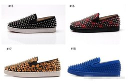 Wholesale Silver Spiked Loafers - 2017 wholesale Luxury Brand Spikes Red Bottom Loafers Platform Sneaker Men Shoes Evening Party Dress Walking Boat Shoes 39-47 drop shippi