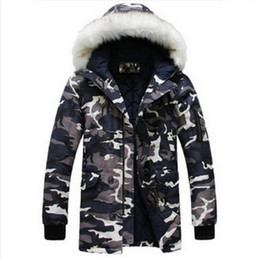 Wholesale Men Parka Goose - Wholesale- 2016 new winter jacket for mens parka Fashion cool men Camouflage large fur collar long design wadded jacket outerwear warm coat