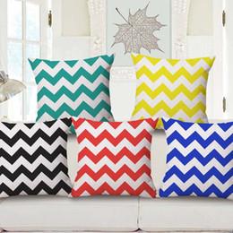 Wholesale Chevron Cushions - 1PC Ripple Chevron Zig Wave Linen Cotton Cushion Cover Home Decor Throw Pillow Case Chevron Linen Throw Cushion Cover Pillow Case