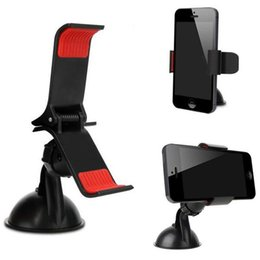 Wholesale Pda Clip - Universal 360 Degree Car Suction Cup Mount Stand Bracket Phone Holder Clip for iPhone 5S For Samsung S5 GPS For HTC For PDA