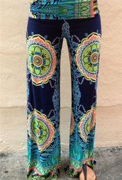 Wholesale Plus Size Palazzo Pants - Wholesale-Women Floral Casual Wide Leg Long Pants High Waist Palazzo Trousers Plus Size Free Shipping
