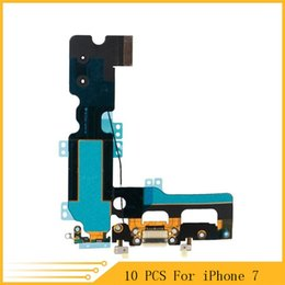 Wholesale Microphone Port - 10pcs lot NEW USB Charging Charger Port Dock Connector Flex Cable For iPhone 7 7G 4.7Inch Audio Microphone Flex Replacement Part