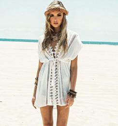 Wholesale Lace Drawstring Shorts - Sexy Lace stitching loose bikini blouse Deep V Hollow out Waist drawstring beach White dress sun-protective clothing Z093