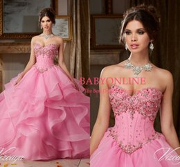 Wholesale Sexy Green Corset Skirt - 2016 Pink New Organza Beaded Rhinestones Quinceanera Dresses Sweetheart Fully Ruffle Skirts Corset Back Ball Gown Pageant Gowns with Jacket