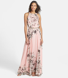 Wholesale Oem Belts - OEM Brand New summer Women Maxi Floral Polyester pink Dress Sleeveless flowers Print Chiffon Summer Dress With Belt