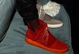 Wholesale Low Heel Sneakers For Men - Original Quality Kanye West 750 Boost High Top Winter Ankle Boots For Women Men Cheap Sneakers Red Black Matte Flat Shoes Size Free Shipping