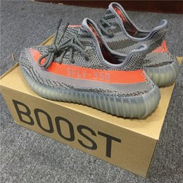 Wholesale Womens Green Tennis Shoes - ORIGINALS BOOST 350 V2 By Kanye West Grey Orange Running Shoes Womens Black Red Green Oreo Outdoors Sneakers Size 48 Uk 2017 Runners