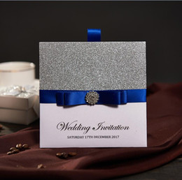 Wholesale Blue Wedding Cards - Traditional Pocket Wedding Invitations With Blue Ribbon & Rhinestone Buckle Custom Wedding Cards Free RSVP & Envelope NK741 Free Shipping