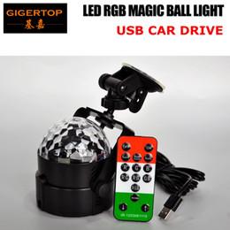 Wholesale Disco Usb - TIPTOP STAGE LIGHT 3X1W RGB USB Led Magic Ball Light Mini Disco KTV Room Light Car Mounting Socket Multi Angle IRC Remote Controller TP-E29