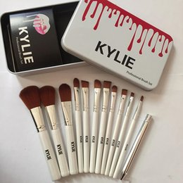 Wholesale Professional Iron Hair - Kylie Makeup Brushes 12 pcs Professional Brush Sets Brands Make Up Foundation Powder Beauty Tools Cosmetic Brush Kits with Retail Iron Box