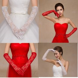 Wholesale Vintage Lace Gloves - 2017 red white bridesmaid gloves above elbow length vintage lace wedding bridal gloves full finger new