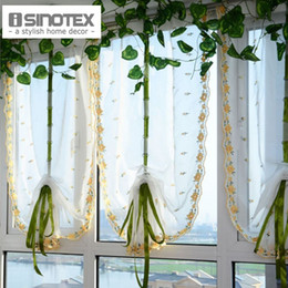 Wholesale Embroidered Sheer Curtains - Embroidered Yellow Small Flowers Roman Bland Sheer Curtains For Bedroom Tulle Voile Curtains For Kitchen 1 PCS