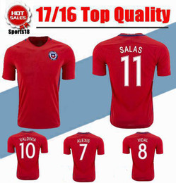 Wholesale National Soccer Team Uniform - 2017 Chile National Team Soccer Jersey 16 17 CONMEBOL CAMPEON 2016 CHILE CHAMPIONS Home Red Football Shirt uniform Top Thai quality