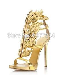 Wholesale Gilt Angels - Newest Hot Selling Gold Silver Cruel Embellished Angel Wing High Heel Sandals Brand Gilded Cage Sandals Women Leaf Pumps
