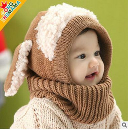 Wholesale Knitted Hats For Dogs - Japanese Style Children's Wool Hat Scarves Sets Ear Cover Thick Skull Caps Cute Dogs Knitted Hats For Baby 5 Color