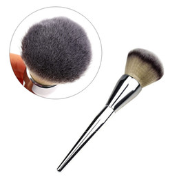 Wholesale Loose Powder Handle Brush - Single Big Universal Makeup Brush Blush Face Powder Loose Powder Foundation Silver Color Handle Cosmetic Large Make Up Brushes
