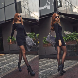 Wholesale Grey Black Sweater Dress - Sexy Women Black Grey Off Shoulder o Neck Long Sleeve Slim Fit Knit Knitwear Sweater Dress Top Size S M XL Free Shipping