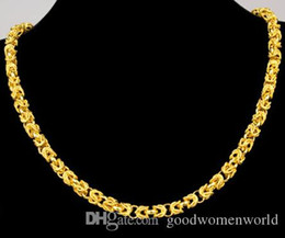 Wholesale Fast American - Fast Free shipping fine Yellow Gold jewelry24K yellow solid gold necklace mens domineering leader necklace wide 7mm length 53cm 48.5g