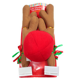 Wholesale Outdoor Reindeer Decorations - Christmas Reindeer Antlers Red Nose Car decoration set With Christmas Bells New Reindeer Antlers Car Costume Horn for all vehicls cars