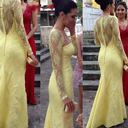 Wholesale Night Wear Robe - Robe De Soiree 2016 Illusion Long Sleeve Lace Evening Dresses Sheer Bodice Covered Button Mermaid Yellow Prom Formal Party Night Club Wear