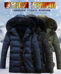 Wholesale Mens Fur Collar Parka Jacket - 5XL Quilted Parka Coat Mens Fashion Thick Warm Fur Collar Hooded Jacket Coat For Men Multi Pockets Wild Men Parkas J161047