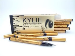 Wholesale Pencils Tube - 120 pcs hot sale NEW makeup KYLIE gold birthay edition tube liquid eyeliner pencil lasting blooming gold box Long-Lasting free shipping
