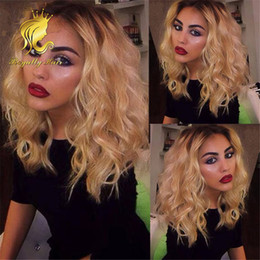 Wholesale Human Hair Wave Bangs - Glueless Blonde Bob #1b 613 Ombre brazilian human hair wig with bangs wavy lace front wigs hair bleached knots