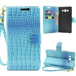 Wholesale Hand Wallet For Mobile - Hand Strap Wallet Case For Samsung A7 A8 A310 A510 Flip Cover Luxury Crocodile Grain Leather Pouch Case For NOTE4 5 N9150 Mobile Phone Bag