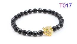 Wholesale 18k Gold Plated Leopard Bangle - Zenger bangle luxury men Leopard wolf head CZ balls bracelet onyx stones round beads tiger eyes beads bracelet with charm pendents