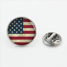 Wholesale Wholesale American Flag Shirts - 2017 New Fashion American flag Butterfly Lapel Pins Handmade Personalized Trendy Jewelry Custom Flag Shirt Collar Pin Brooch