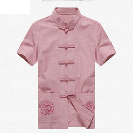 Wholesale kung fu shirt cotton - Wholesale- Pink Brand New Arrival Chinese Traditional Men's Solid Cotton Linen Embroider Kung Fu Shirts Tops M L XL XXL 3XL MS201507