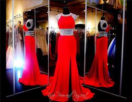 vestidos de vestidos de vestidos sexy sexy Desconto Decote Alto Beading A linha de Chiffon Vermelho Vestido de Baile Sexy Aberto Voltar Cap Mangas Frente Fenda Vestido De Noite Vestidos Pageant