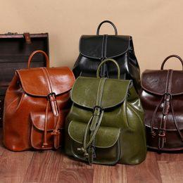 Wholesale Green Genuine Leather Shoulder Bag - 2017 New Oil Waxen Leather Bag with Double Shoulder Handbag and Cover Bucket Bag Leather Bag