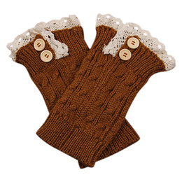 Wholesale Lace Trimmed Socks - Wholesale-Women Girl Crochet Knitted Lace Trim Boot Cuffs Toppers Leg Warmers Winter Socks 918U