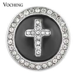 Wholesale Wholesale Faith Jewelry - NOOSA Ginger Snap Black White 18mm Cross Faith Crystal Button Jewelry VOCHENG Vn-1332