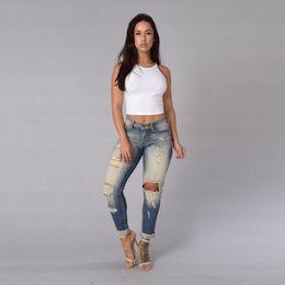 Wholesale Hole Jeans For Women - Cotton Denim Pants Hole Pants Bleached Pants Womens Bleach Ripped Skinny Jeans Denim Jeans For Female