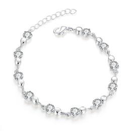 Wholesale Silver 925 Buttons - top sale Diamond lobster button 925 silver charm bracelet 8inchs EMB372,women's sterling silver plated jewelry bracelet