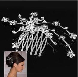 Wholesale Rhinestone Alloy Comb Hair Accessories - Women Bridal Wedding Silver Plated Crystal Rhinestone Flower Hair Combs Hair Accessories Headwear Bride Tiara