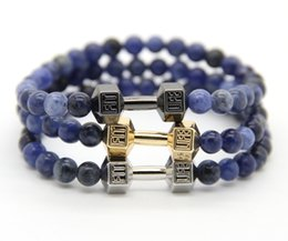 Wholesale Design Metal Charm - 2016 New Design Men's Jewelry Made by 6mm Natural Blue Veins Stone Beads with Alloy Metal Fitness Dumbbell Charm Bracelets