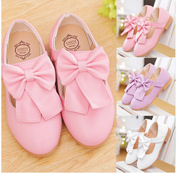 Wholesale Dress Shoes Bows - Girl bow shoes Princess Children Dress Shoes Girls Dress Shoes