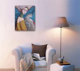 Venda lienzo pintado a mano pintura al óleo # 999 Figura moderna bella dama con gato para decoración de hogar / oficina (comedor / dormitorio) en envío gratis desde fabricantes