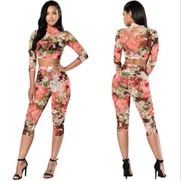 Wholesale Wholesale Womens Tracksuits - Wholesale- Rompers Womens Jumpsuit Casual Rose prints Two Piece Jumpsuits Set Bodysuit Women Sexy Tracksuit For Women yoga pants